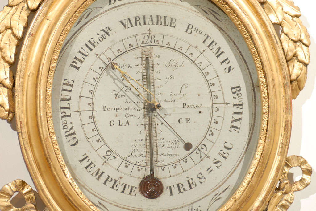 18th Century Giltwood Barometer with Allegory of Science 6