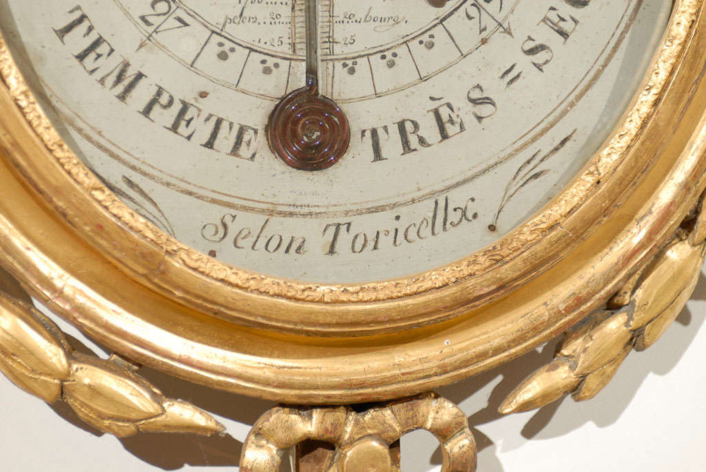 18th Century Giltwood Barometer with Allegory of Science 7