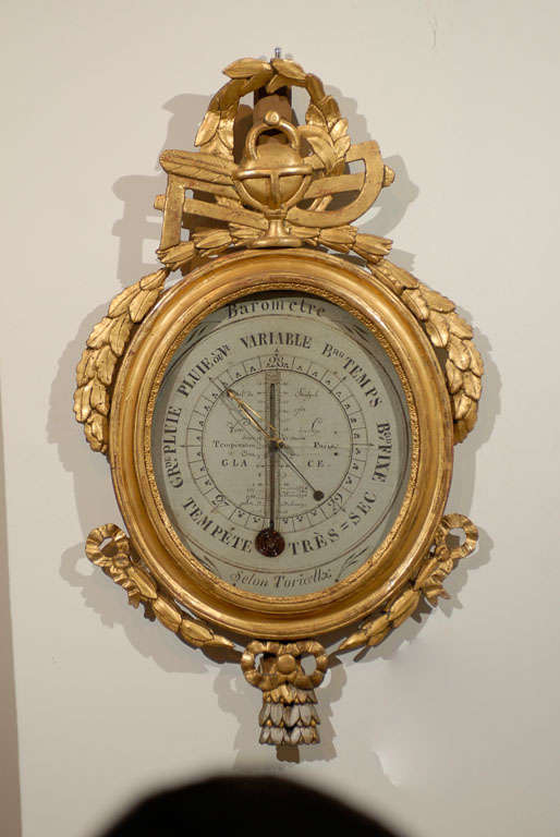 18th Century Giltwood Barometer with Allegory of Science 8