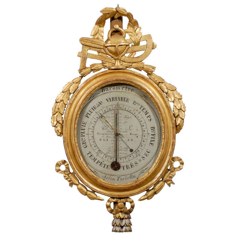 18th Century Giltwood Barometer with Allegory of Science 1