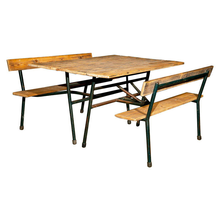 Picnic Table with attached Benches at 1stdibs : x from 1stdibs.com size 768 x 768 jpeg 37kB