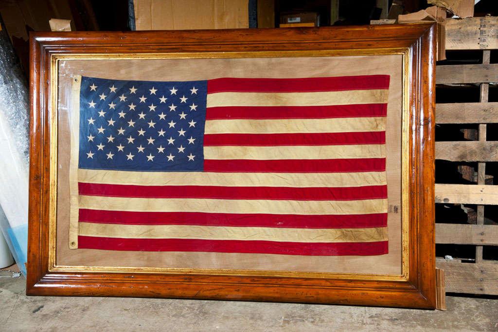 Framed Vintage American Flag At 1stdibs