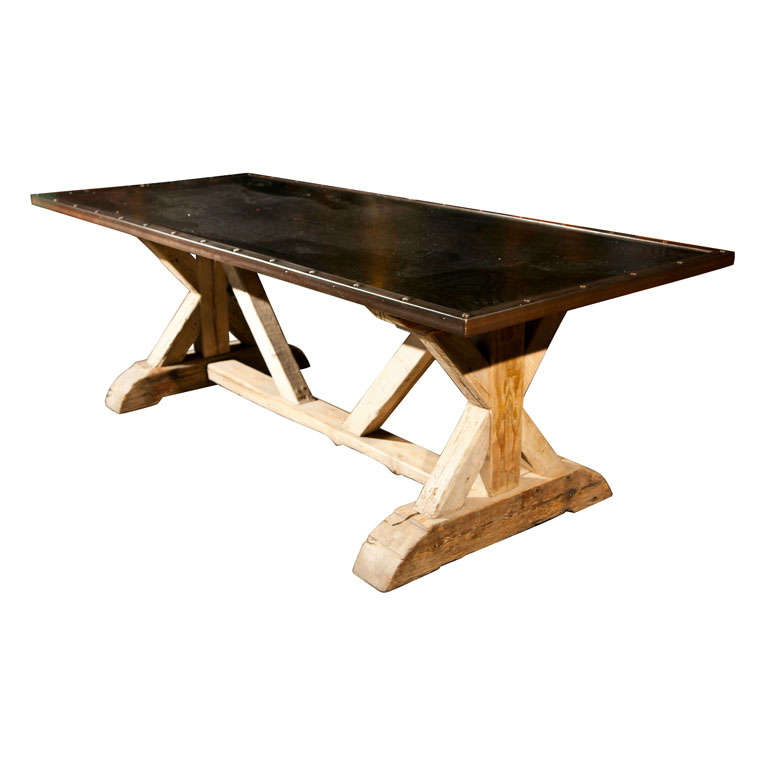 Belgian steel toptrestle base farm table at 1stdibs : x from www.1stdibs.com size 768 x 768 jpeg 30kB