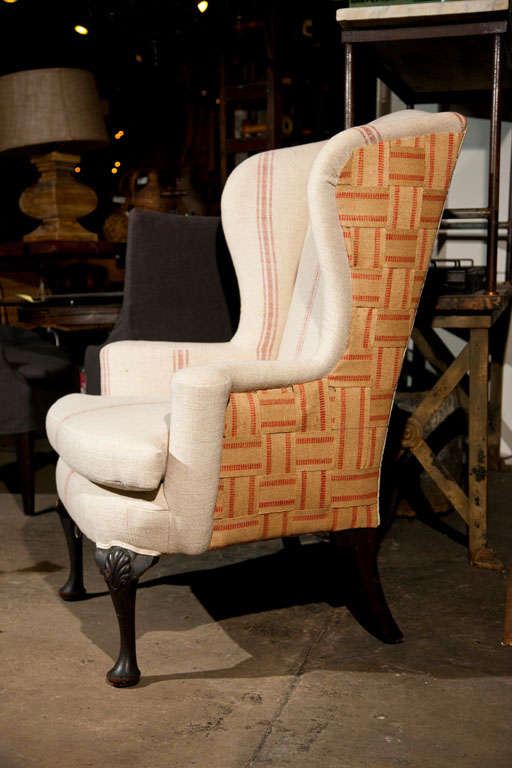 Wing Chair Recovered In Grain Sack Linen At 1stdibs