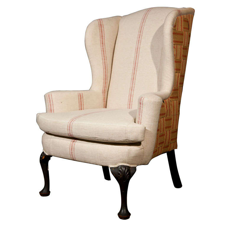 Wing Chair Recovered In Grain Sack Linen For Sale