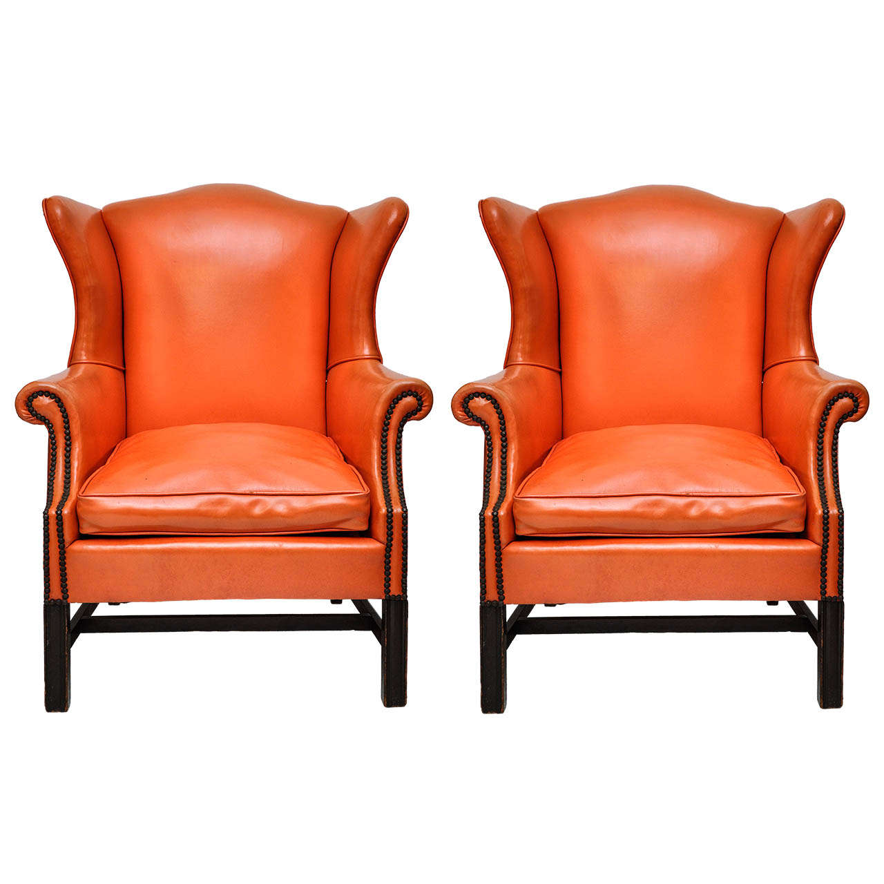 Vintage Orange Leather Wing Chair For