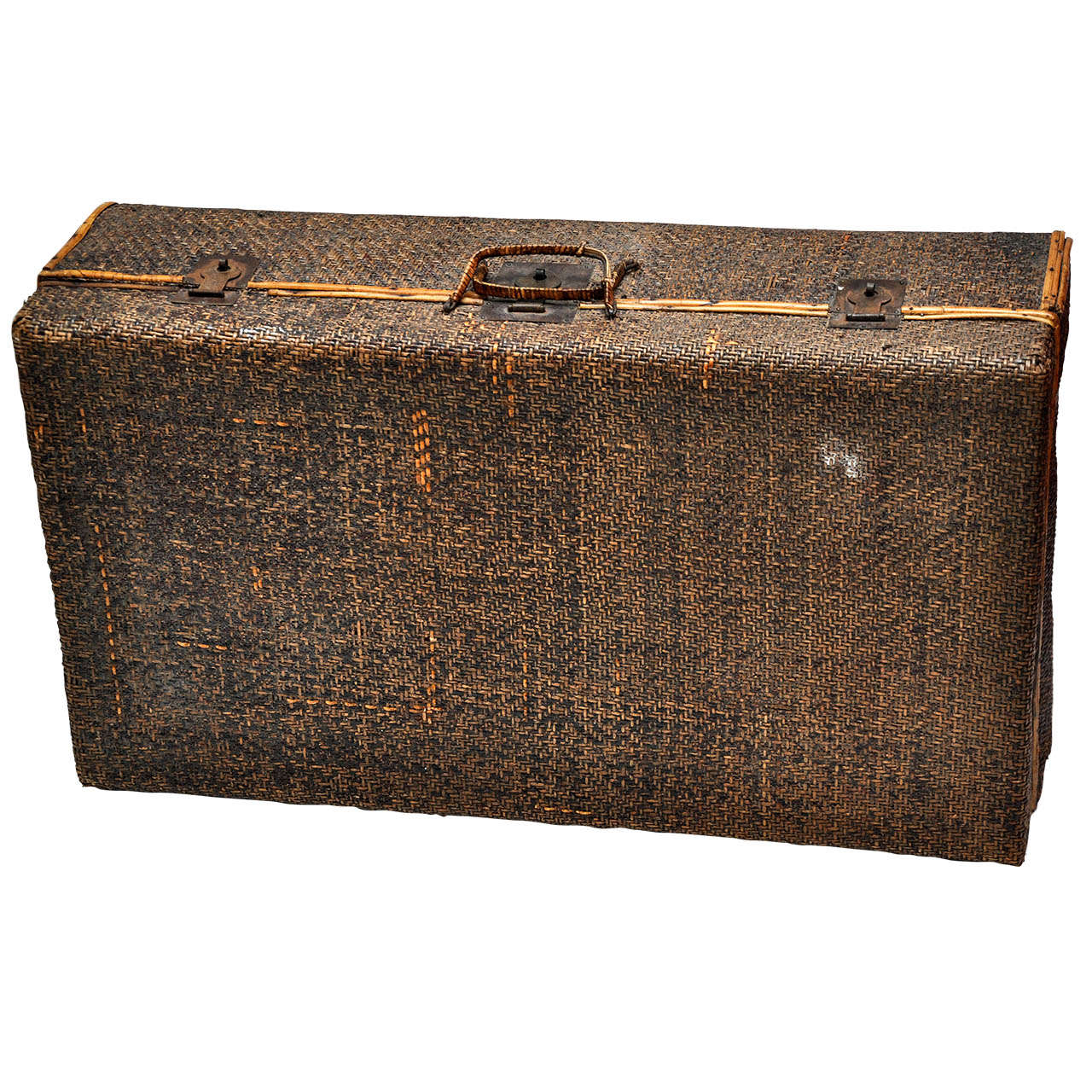 Vintage Wicker Suitcase at 1stdibs