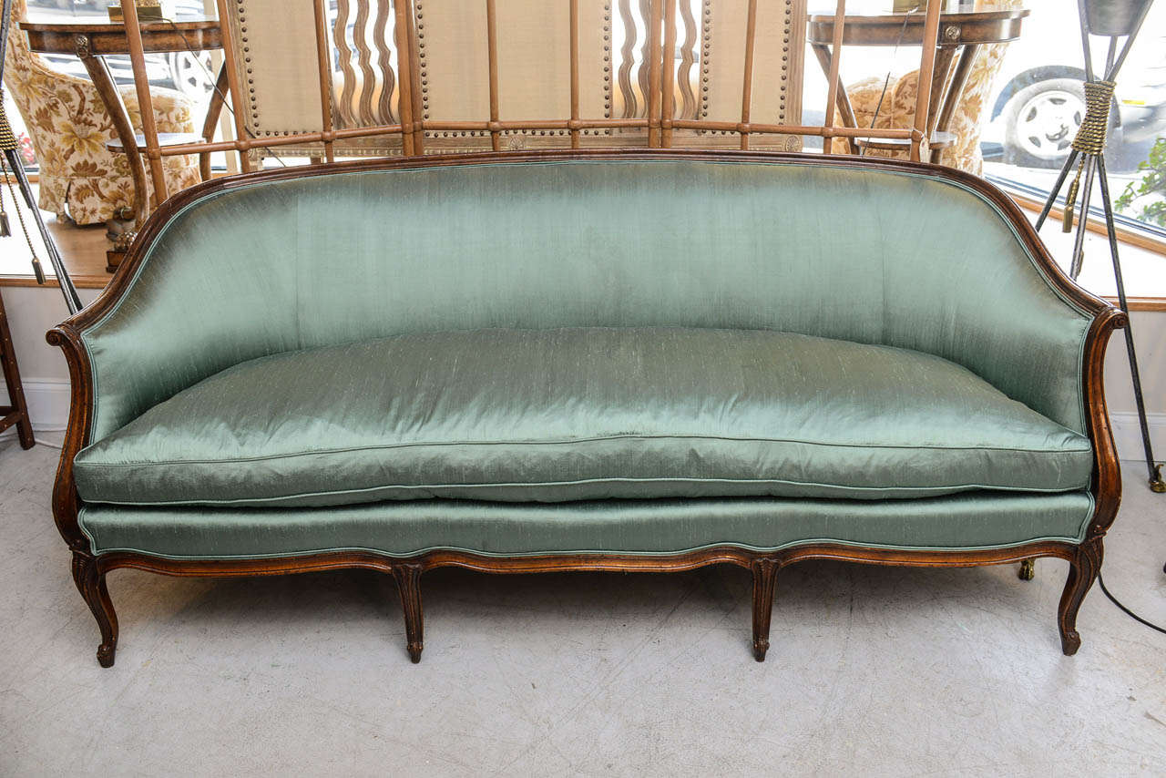 Meyer Gunther Martini For Elegant Louis Xv Style Sofa Newly Upholstered In Dupioni Teal Silk Fabric With A Single Down