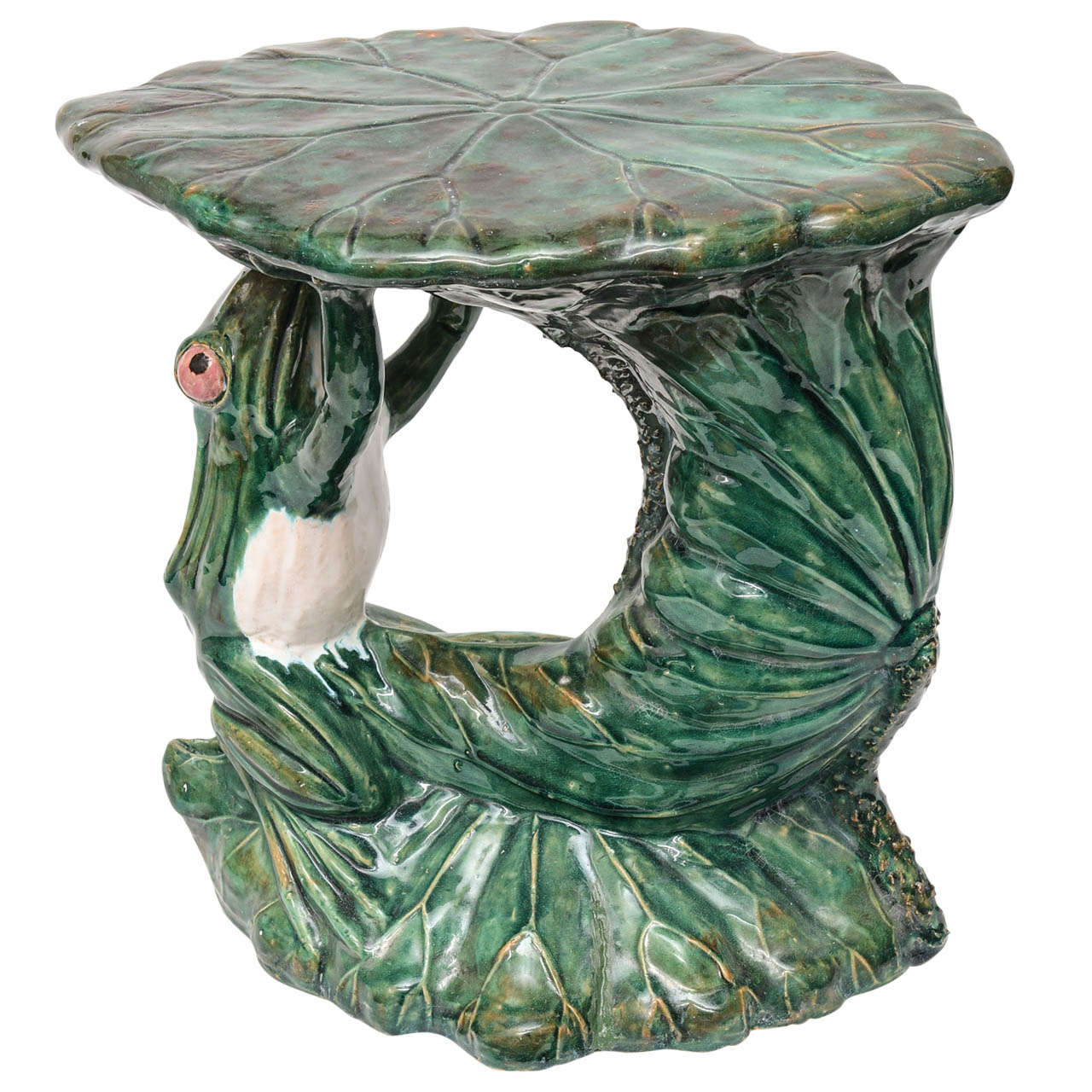 Antique Majolica Frog Garden Seat At 1stdibs