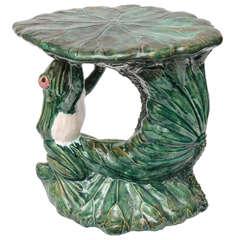 Antique Majolica Frog Garden Seat