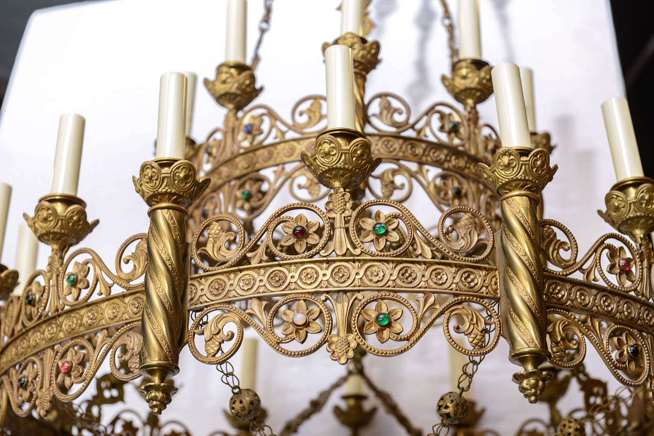 Moorish bronze chandelier studded with colored stones at 1stdibs - Moorish chandelier ...
