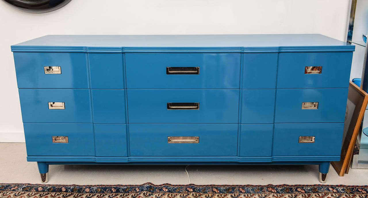 Ocean Blue Lacquered John Widdicomb Dresser 2