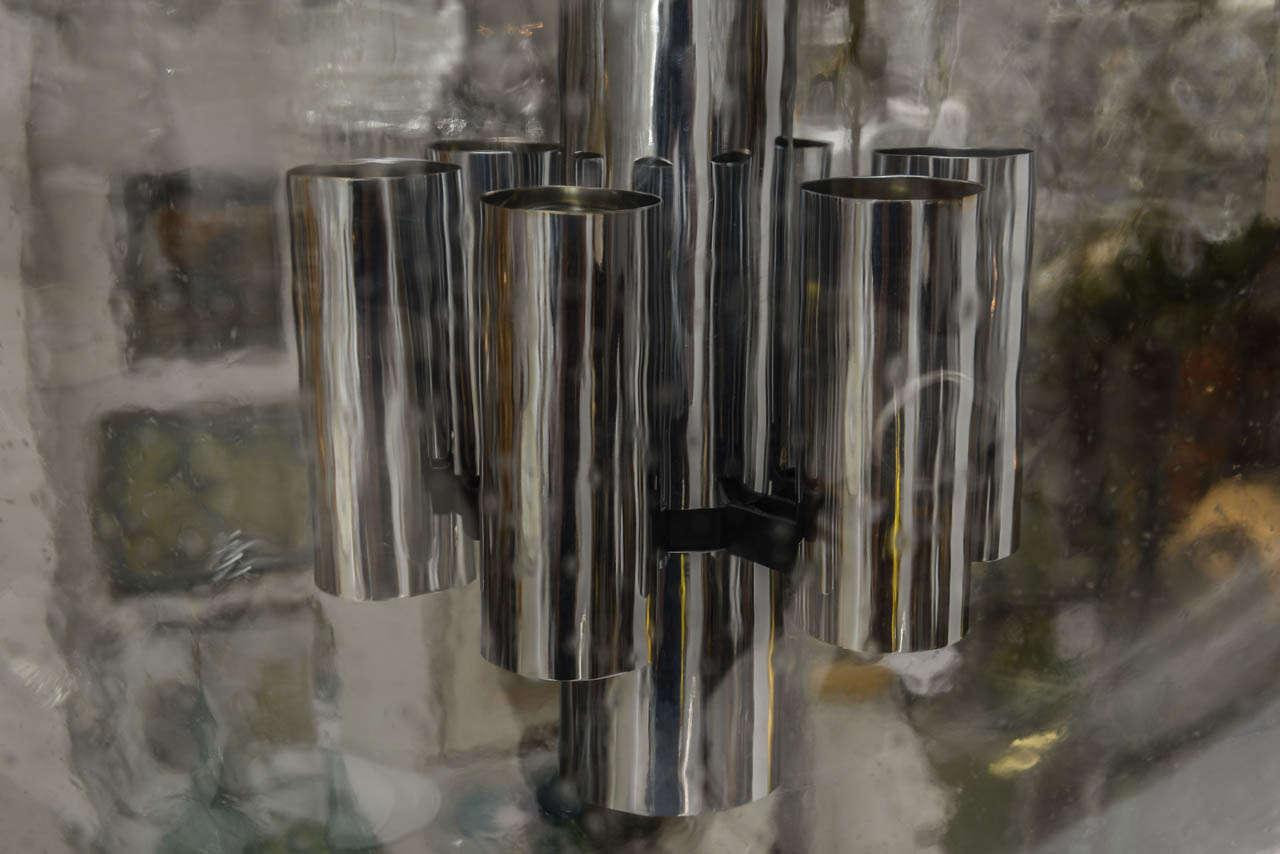 Large Limburg Circular Glass And Chrome Pendant Chandelier