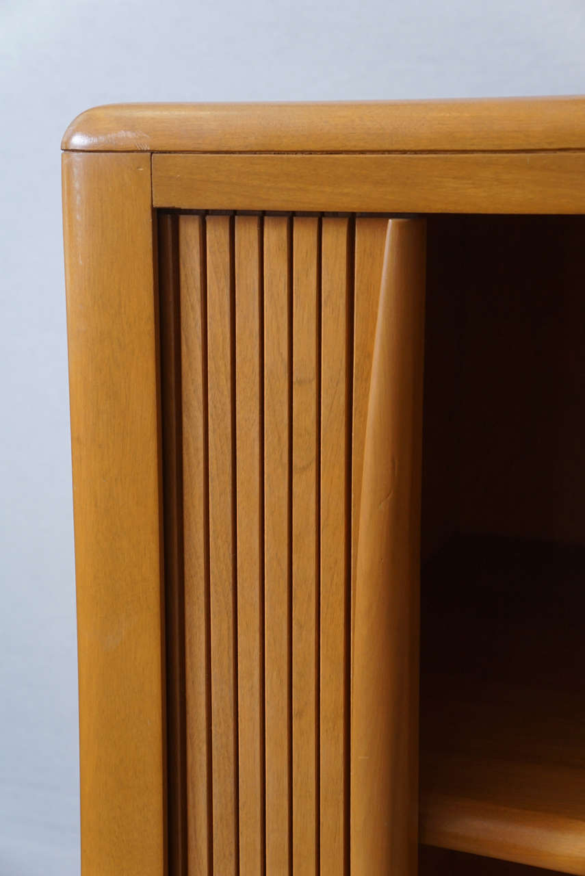 Heywood Wakefield Tambour Door Cabinet At 1stdibs