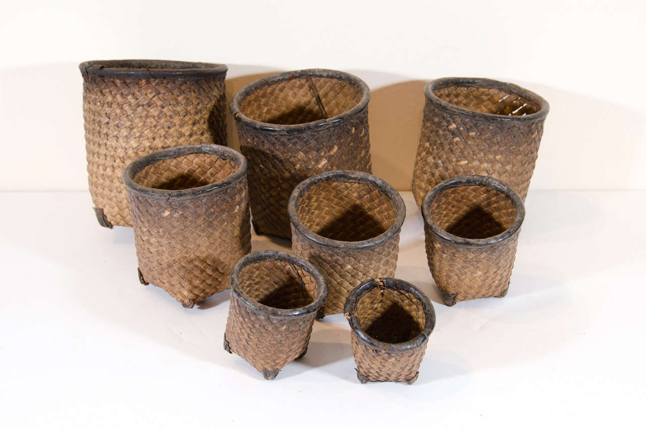 Natural Fiber Set of Eight Hand Woven Grain Measures For Sale