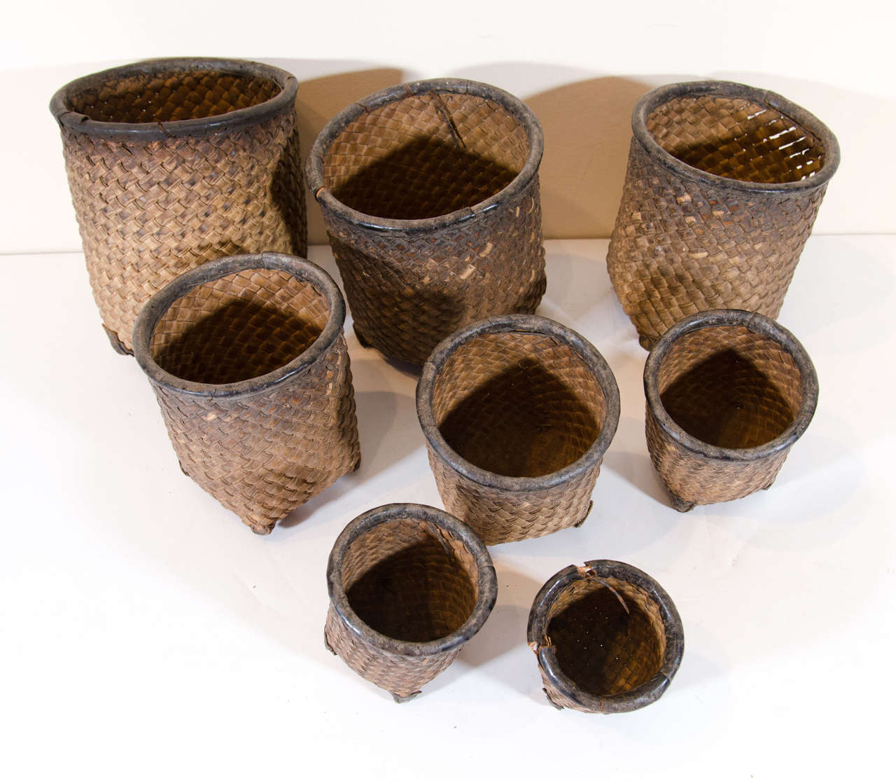 Set of Eight Hand Woven Grain Measures For Sale 1