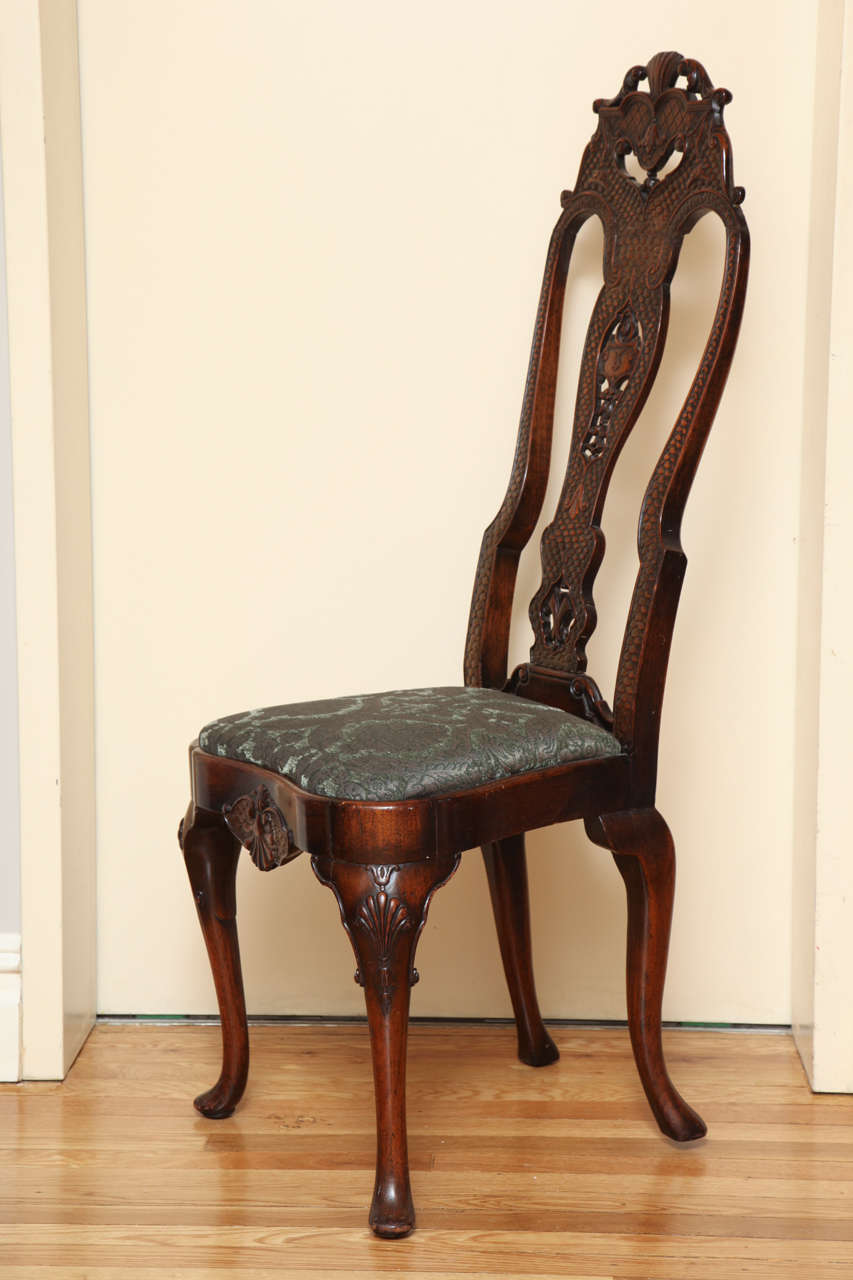 An English Walnut Queen Anne Style Side Chair With Open Back Having  Hand Carved Fish