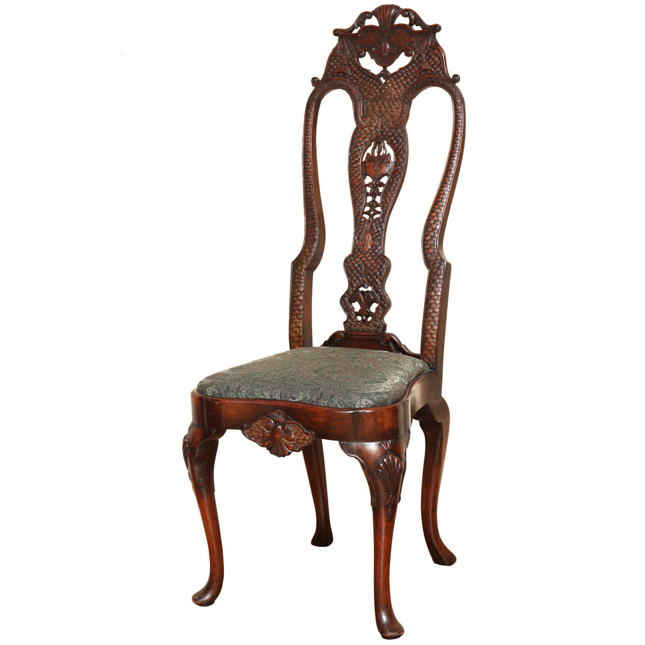 English Queen Anne Style Walnut Side Chair For Sale