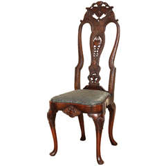 English Queen Anne Style Walnut Side Chair