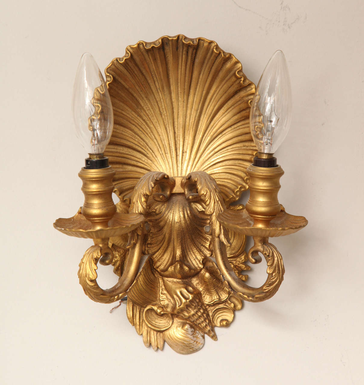 Pair of Two-Light Shell Back Sconces 2