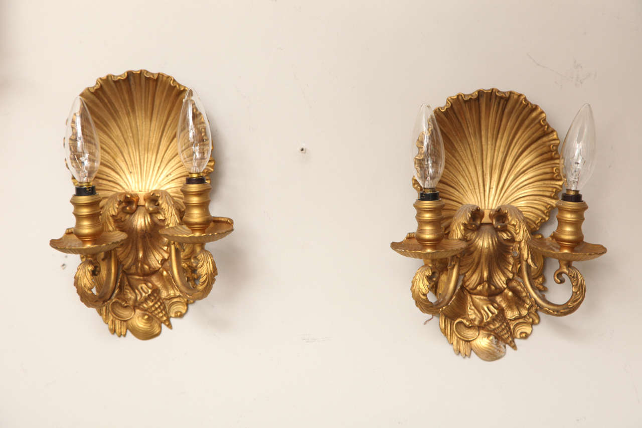 Pair of Two-Light Shell Back Sconces 4