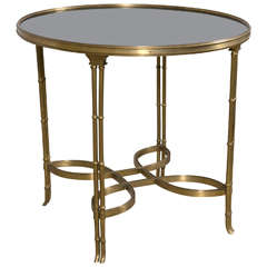 Single Marble-Top Bamboo Form Bouillotte Table