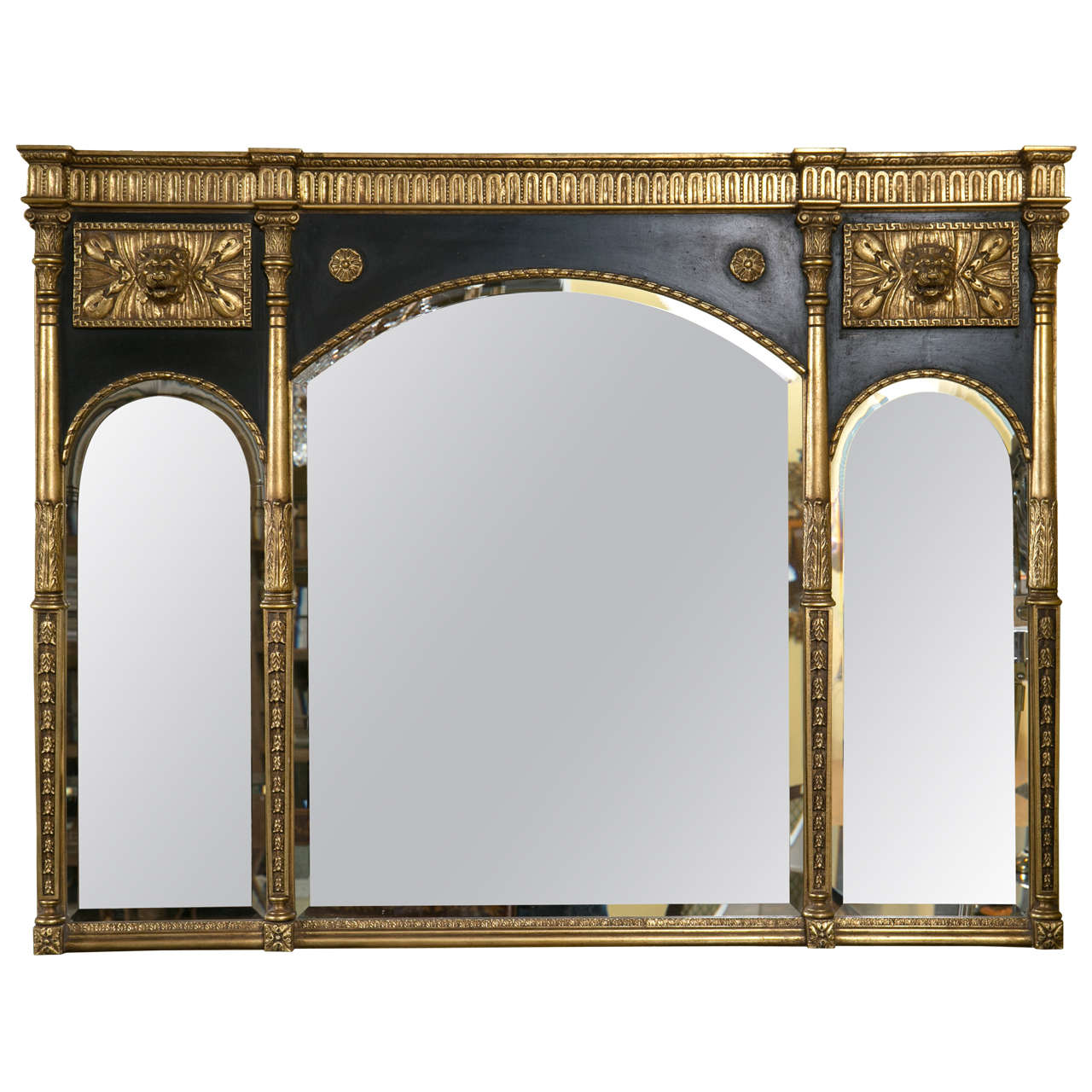 Neoclassical style over the mantel ebony and gilt wall for Mantel mirrors
