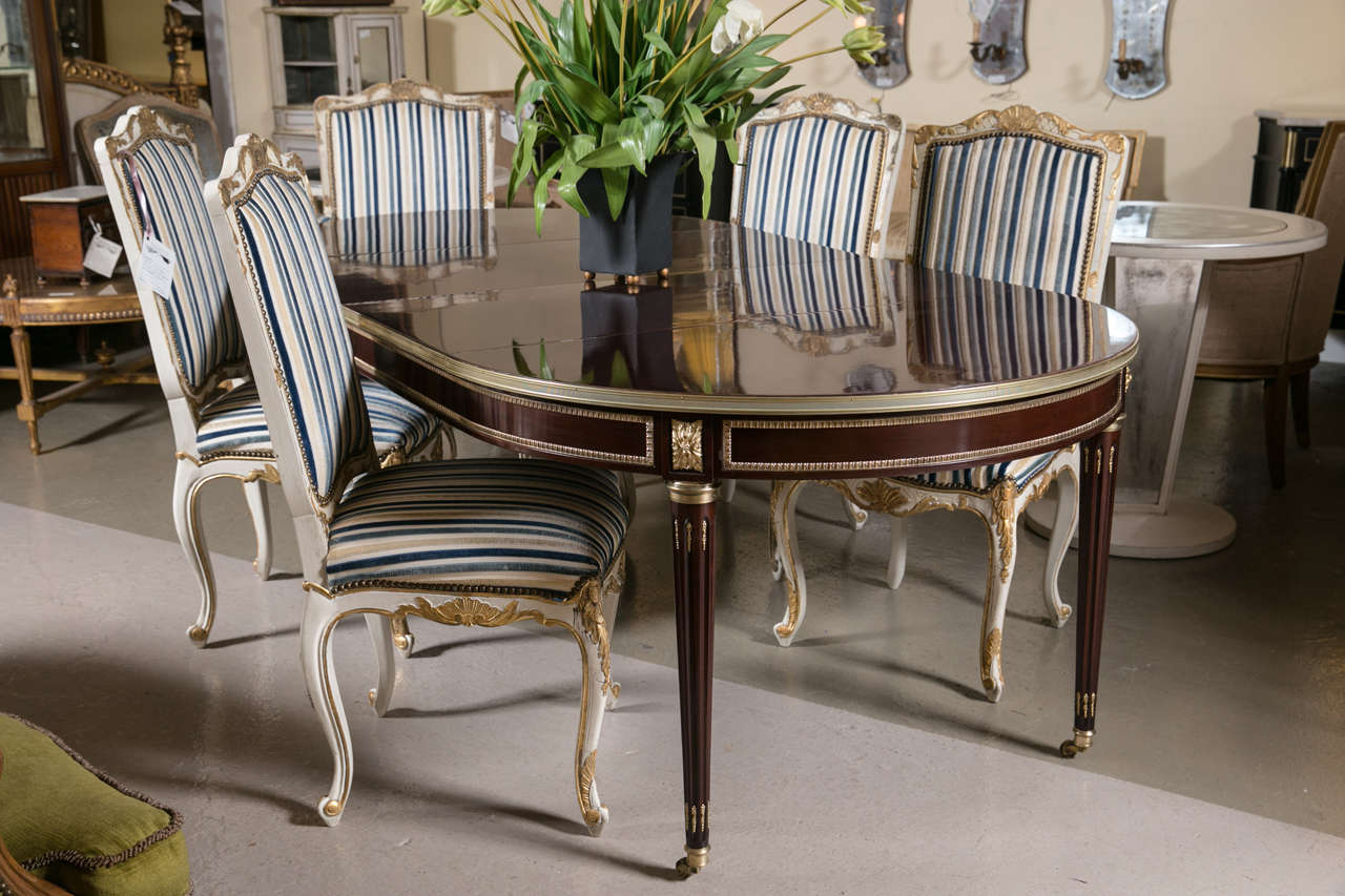 Hollywood Regency Set Of Eight Jansen Style Gilt Gold And Painted Louis XV Dining Chairs For