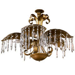 Brass Five-Light Large Palm Leaf With Crystals ChandelierHollywood Regency Style