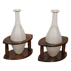 Pair of Hoggit Decanters in Wooden Stands