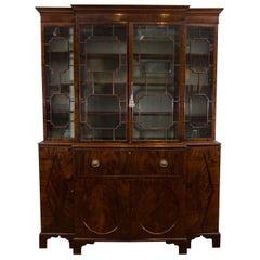 18th Century Georgian Mahogany Breakfront Bookcase with Glazed Doors
