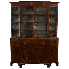 18th Century Georgian Mahogany Breakfront Bookcase with Glazed Doors