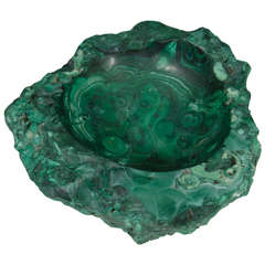 Vintage Malachite Ash Tray or Deep Dish with Green Swirl Detailing
