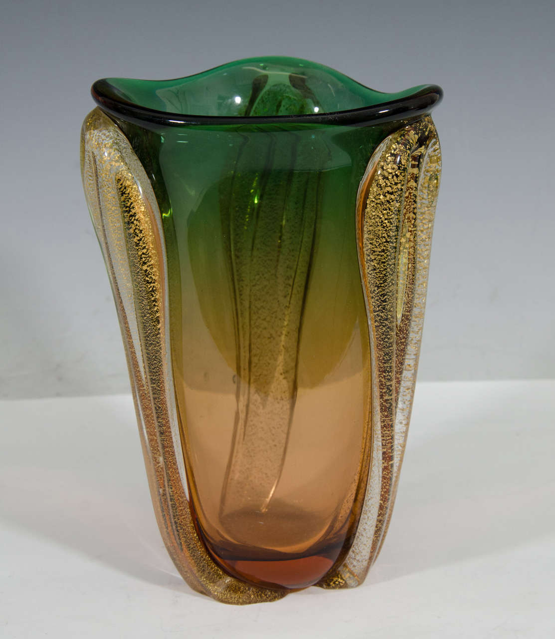 Midcentury murano glass vase in green and amber with gold leaf for a vintage murano glass pointed vase produced in italy circa 1950s 1960s in reviewsmspy
