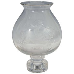 Vintage Urn Form Etched Glass Vase of Europa and the Bull