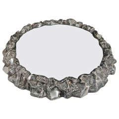 Victorian Era Hand-Hammered Silver Plate on Metal Plateau or Centerpiece