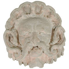 MidCentury Grotesque Garden God Face Sculpture