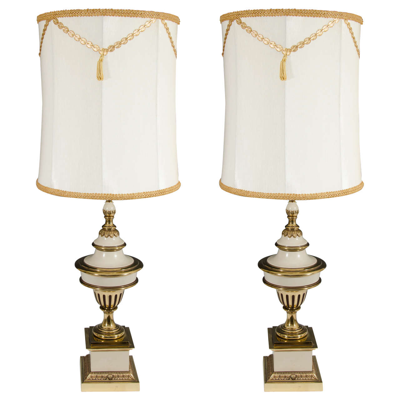 Style pair of brass cream colored stiffel table lamps at 1stdibs