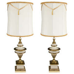 Hollywood Regency Style Pair of Brass Cream Colored Stiffel Table Lamps