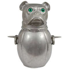 Antique French Pewter Bulldog Ice Bucket with Green Glass Eyes
