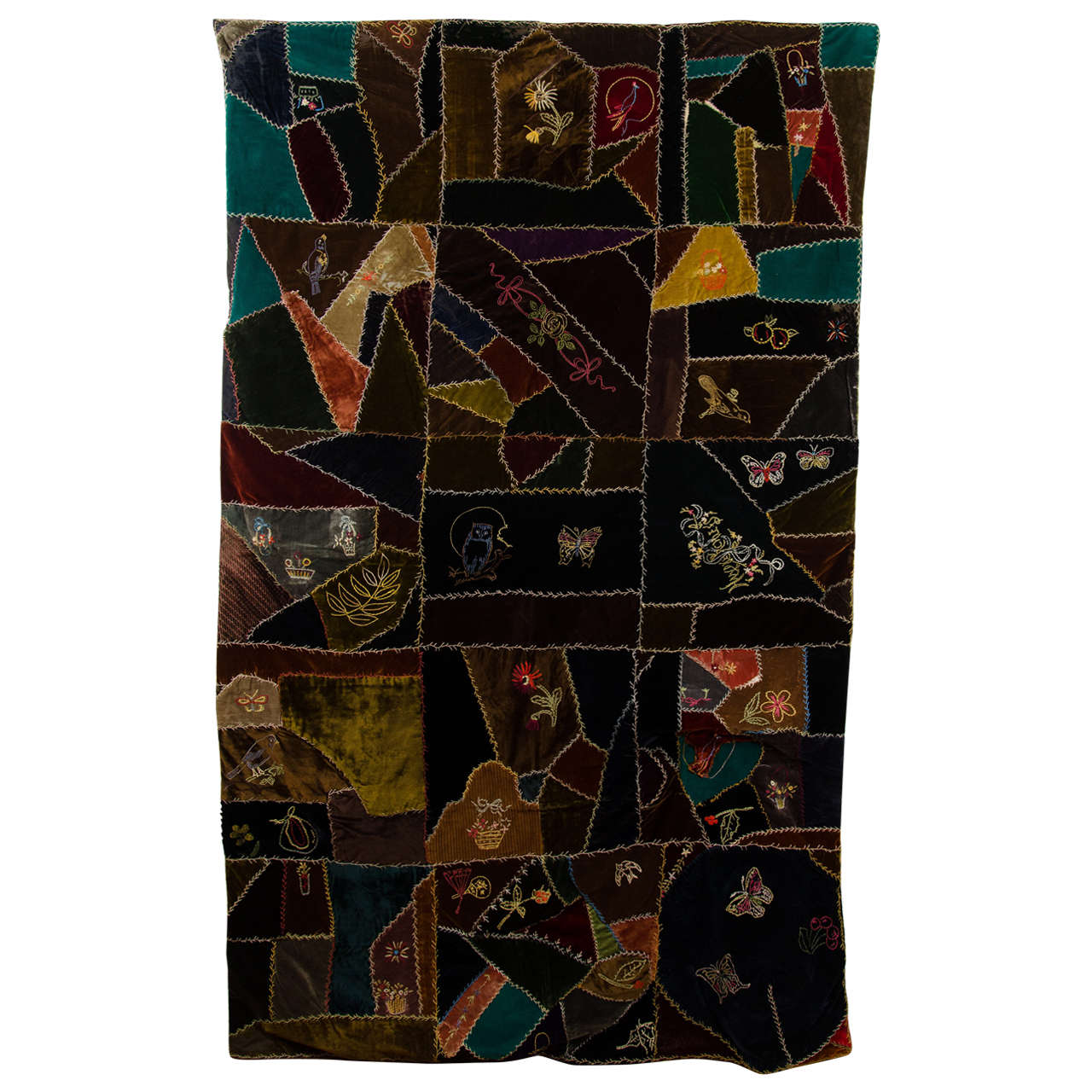 antique handmade quilts value an antique handmade quilt in embroidered velvet at 1986