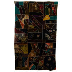 An Antique Handmade Crazy Quilt in Embroidered Velvet