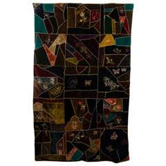 An Antique Handmade Crazy Quilt in Embroidered Velvet