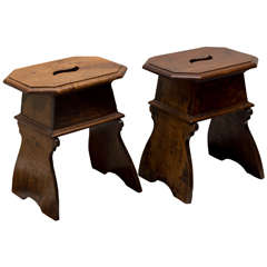 Pair of 18th Century Italian Walnut Stools