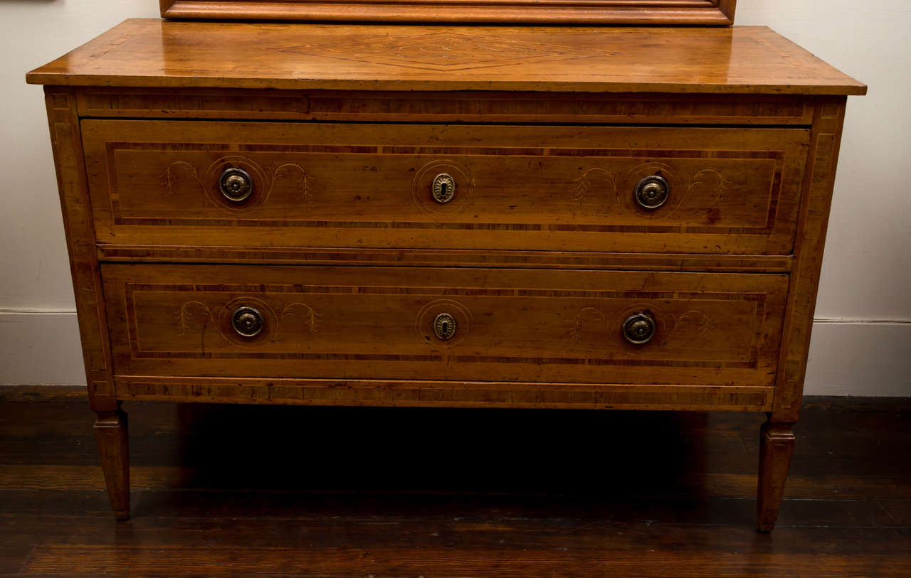 18th Century Italian Neoclassic Walnut and Marquetry Commode, Sicilian 2
