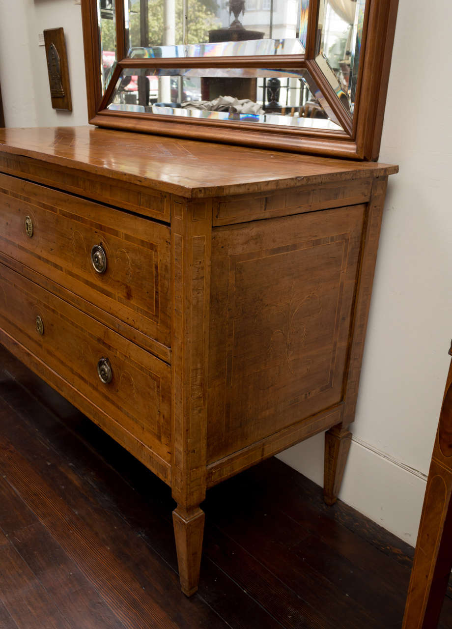 Neoclassical 18th Century Italian Neoclassic Walnut and Marquetry Commode, Sicilian For Sale