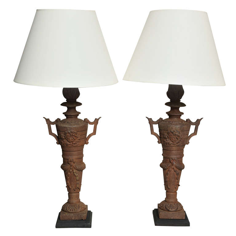 Two Pairs of Napoleon III Cast Iron Lamps For Sale