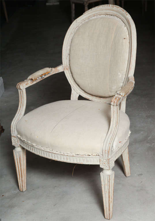 Set of four large-scale 19th century, Italian, Louis XVI Style upholstered fauteuils. Very comfortable.