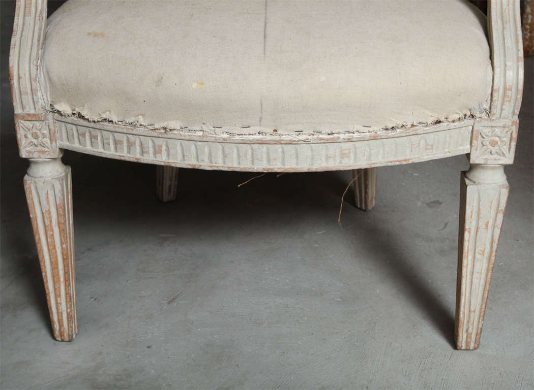 Set of Four Italian Oval Back Fauteuils with Original Paint For Sale 3