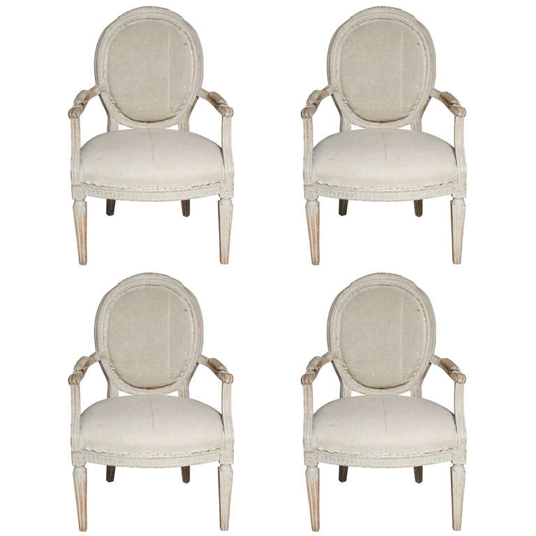 Set of Four Italian Oval Back Fauteuils with Original Paint
